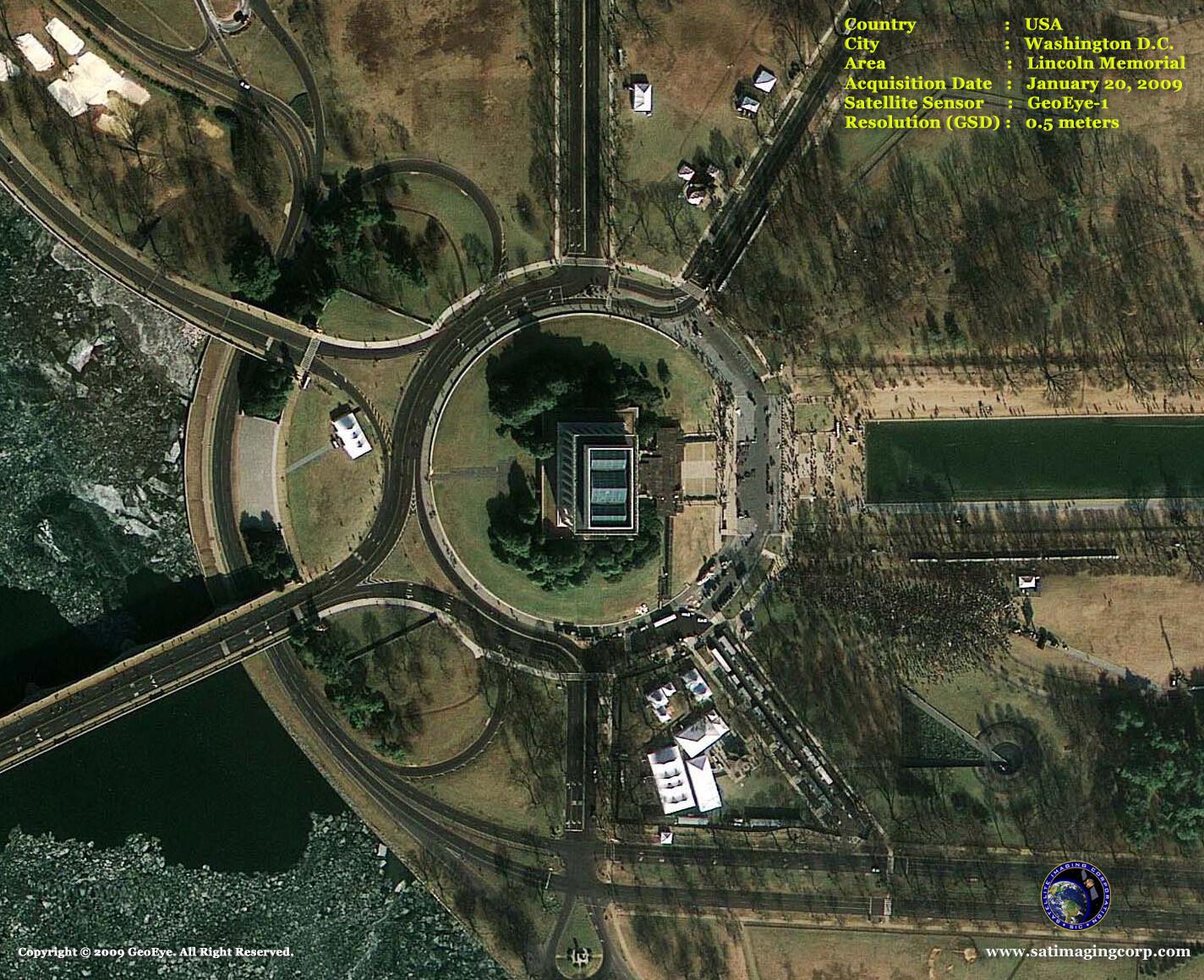 satellite image inauguration_lincoln memorial