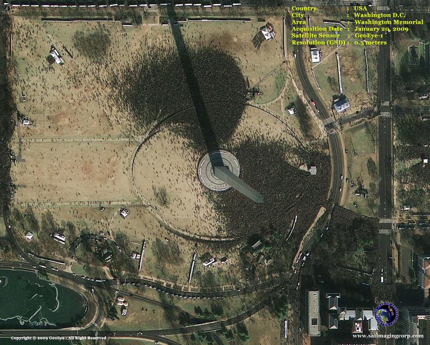 satellite image washington memorial