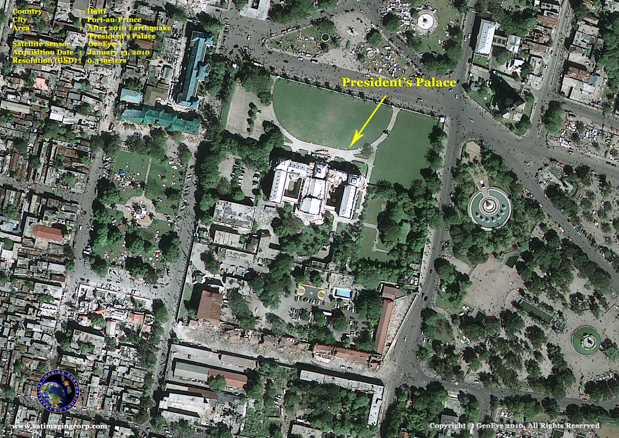satellite image presidents palace 2010 haiti port au prince