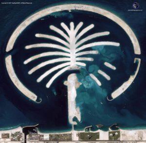 satellite image Palm Jumeirah