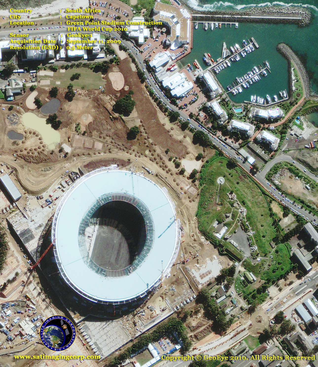 satellite photo Green Point Stadium World Cup cape town