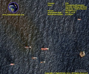 wv-2 satellite image gulf oil spill clean up