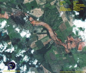 quickbird satellite image Toxic Spill, Ajka, Hungary