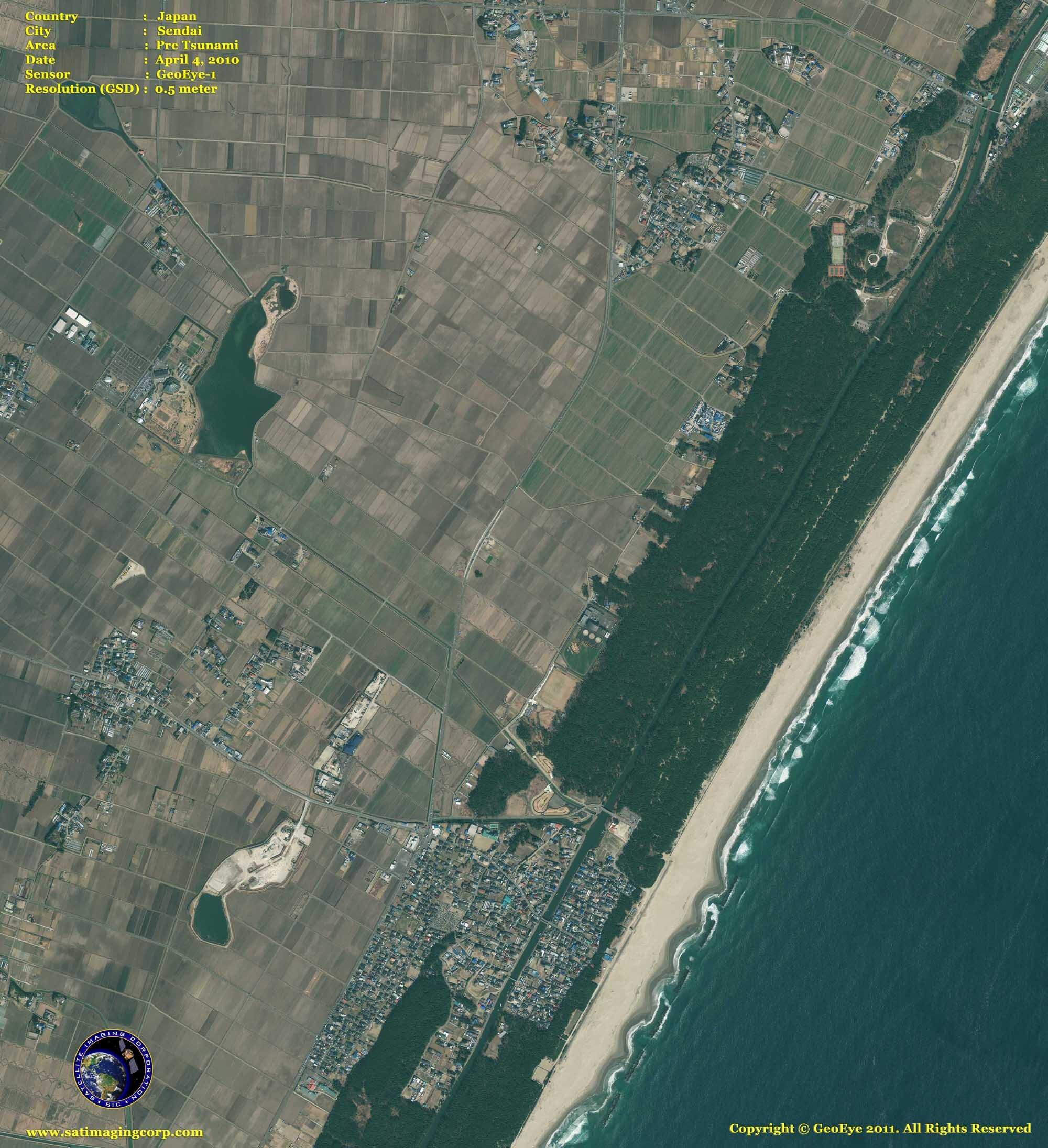satellite photo Sendai_japan pre and post tsunami