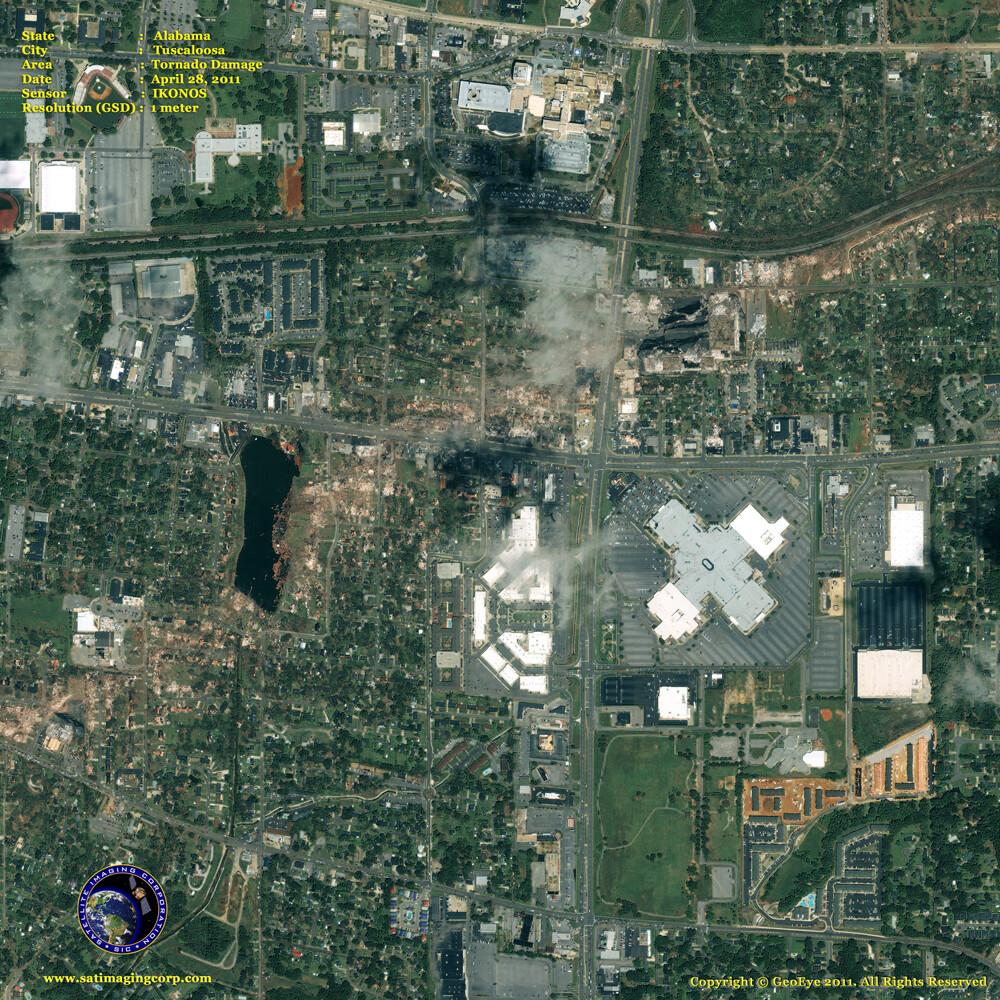 satellite image tuscaloosa_alabama tornado damage