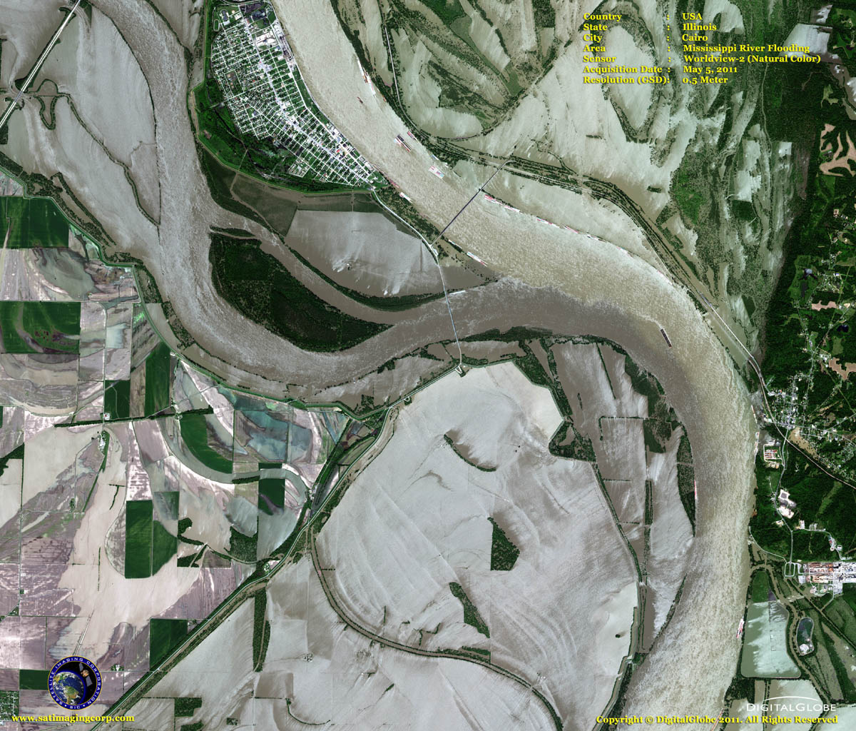 satellite image Flooding in the Midwest, Cairo, Illinois