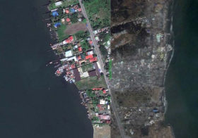 Satellite Images of Typhoon Haiyan Path of Destruction